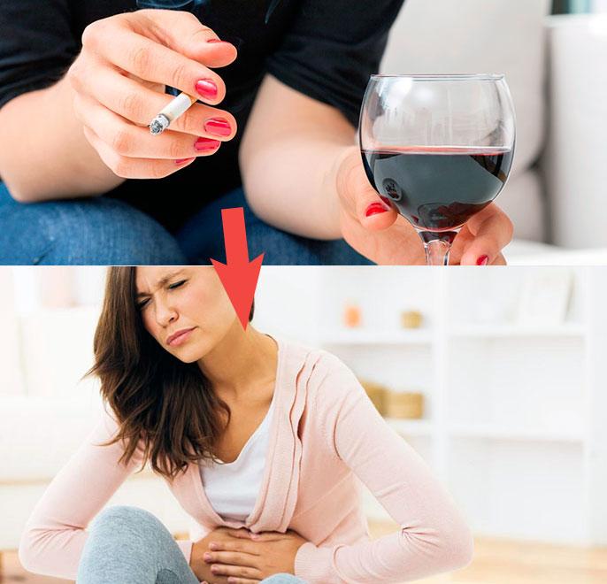 алкоголь и табак являются основными факторами появления эзофагита